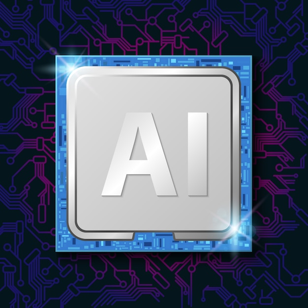 Искусственный интеллект (ии) на чипе процессора электронный Premium векторы