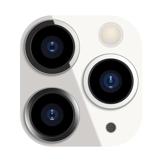 スマートフォンの現実的なカメラレンズ Premiumベクター