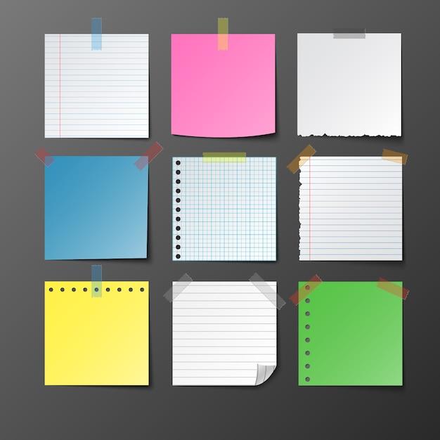 Бумага для заметок на сером фоне Premium векторы