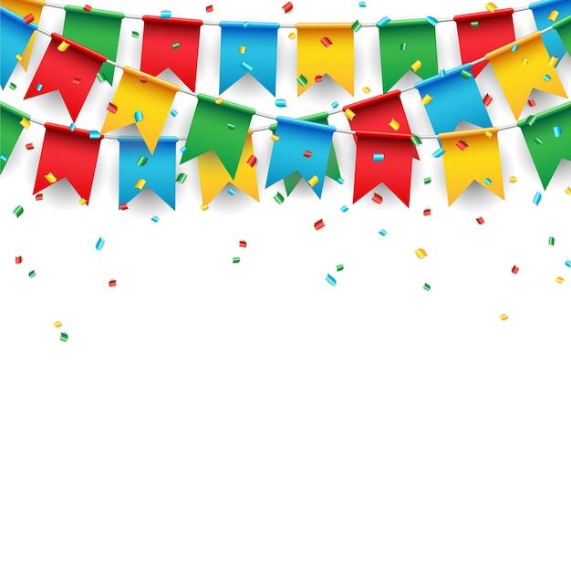 白い背景にパーティーのお祝いの旗 Premiumベクター