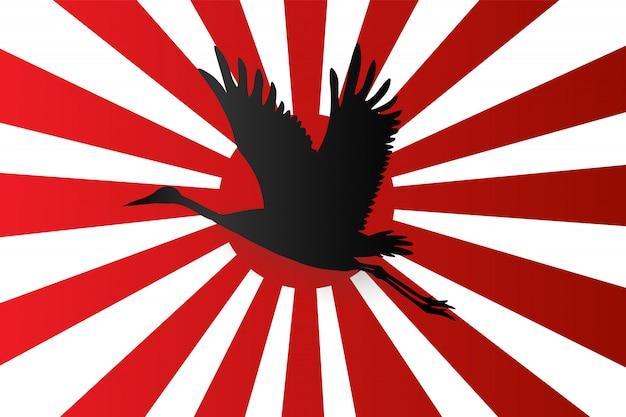 飛んでいる日本のクレーンのシルエット Premiumベクター