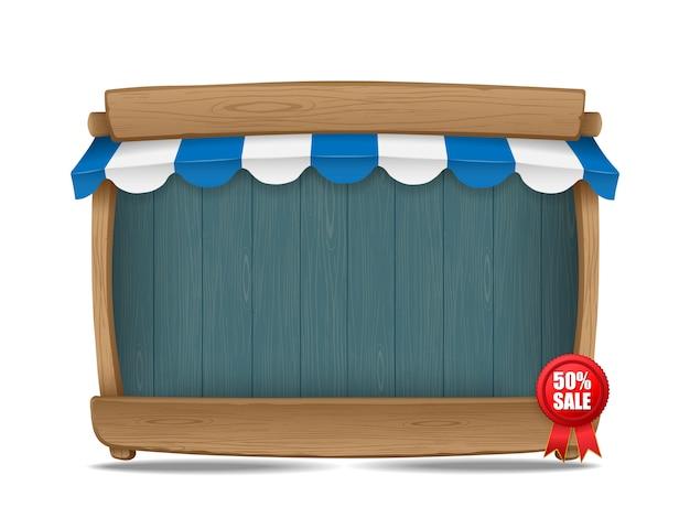 Деревянная рыночная прилавок с тентом, векторная иллюстрация Premium векторы
