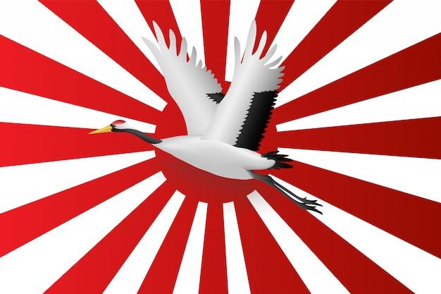 日本海軍の旗の上を飛んで日本のクレーン Premiumベクター