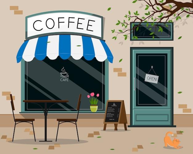 モダンカフェショップ外観、ストリートカフェ屋外テラス Premiumベクター