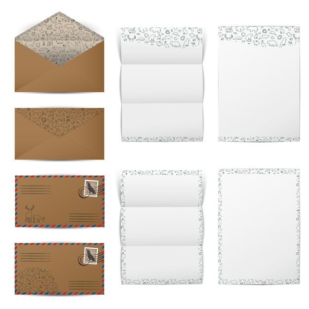 茶色の紙封筒と空白の白い手紙 Premiumベクター