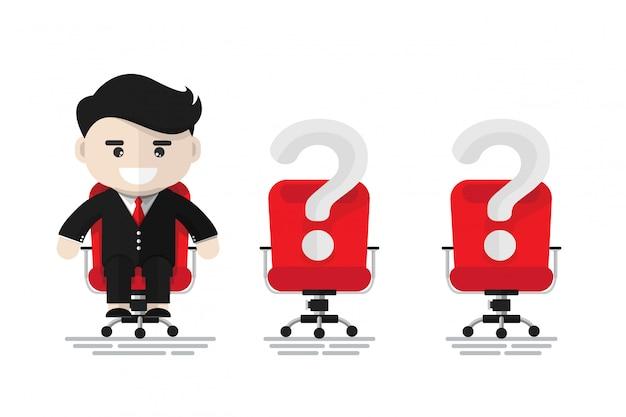 赤いオフィスの椅子に座っている朗らかビジネスマン Premiumベクター
