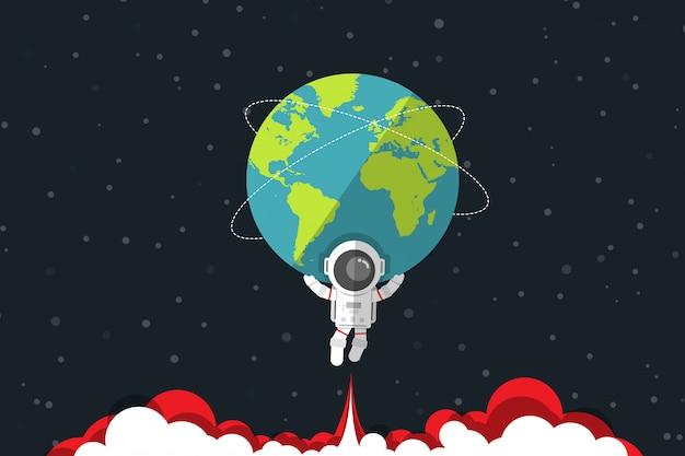 Плоский дизайн, астронавт несет землю на своем плече и ниже имеет реактивный двигатель красный дым, векторная иллюстрация, элемент инфографики Premium векторы