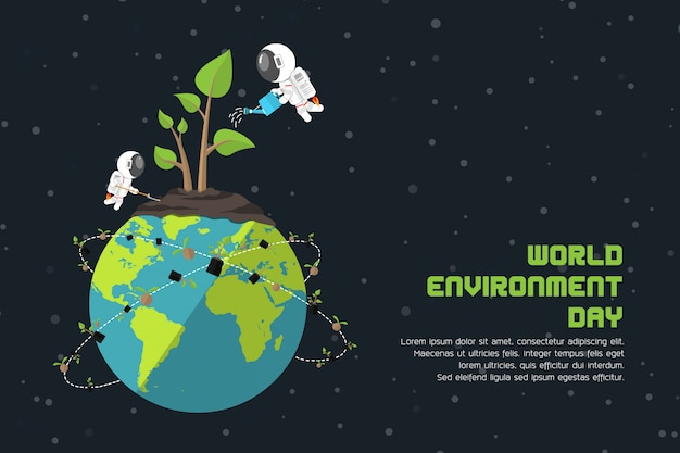 Зеленые растения на земле выращивают растения от астронавтов, всемирного дня окружающей среды, парникового эффекта и глобального потепления Premium векторы