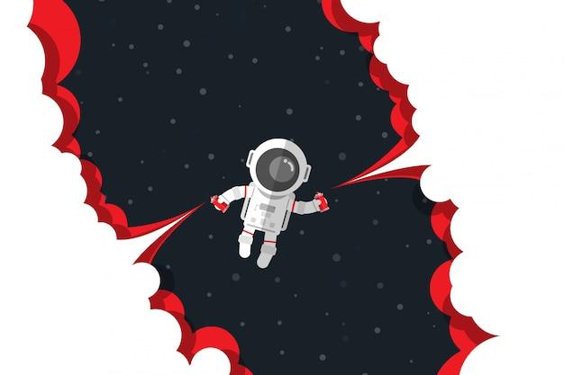 フラットなデザイン、宇宙飛行士は、スペース、ベクトル図に浮かぶ間ボタンスプレー式塗料ボトル起動赤い煙を押し下げる Premiumベクター