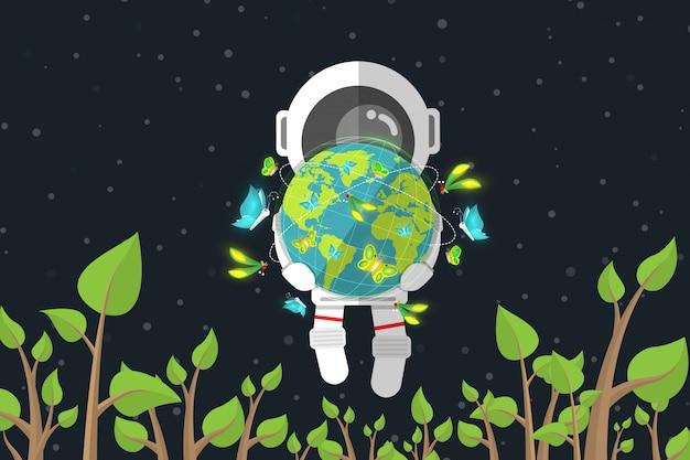 Плоский дизайн, астронавт держит землю с бабочкой во время плавания среди растений в космосе, концепция охраны окружающей среды, векторные иллюстрации, элемент инфографики Premium векторы