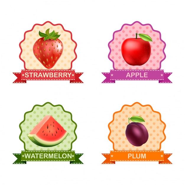 果物のラベル Premiumベクター