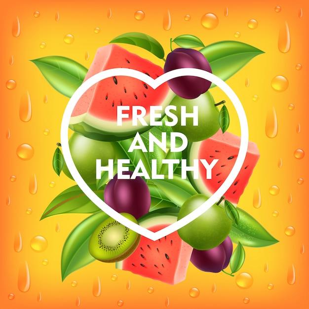 Свежие и здоровые фрукты фон Premium векторы