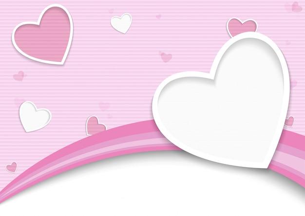 心とストライプのバレンタインの背景 Premiumベクター