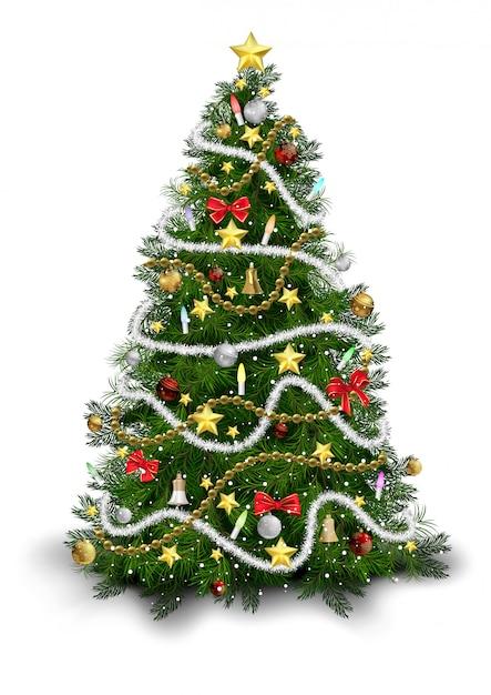カラフルな飾り付きのクリスマスツリー Premiumベクター