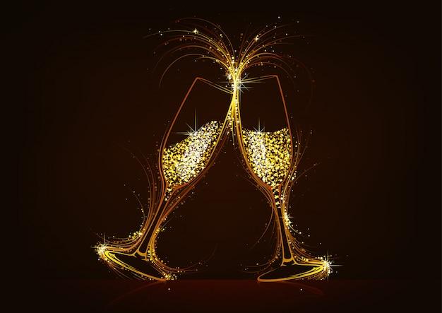 キラキラの飲み物と輝くシャンパングラス Premiumベクター