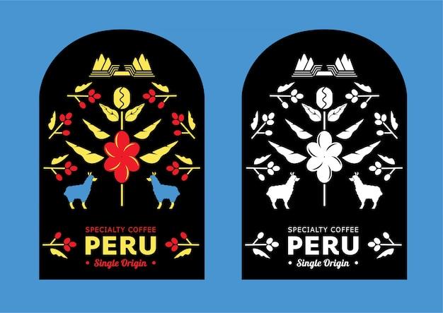 Перу кофейная этикетка с горным ламой Premium векторы