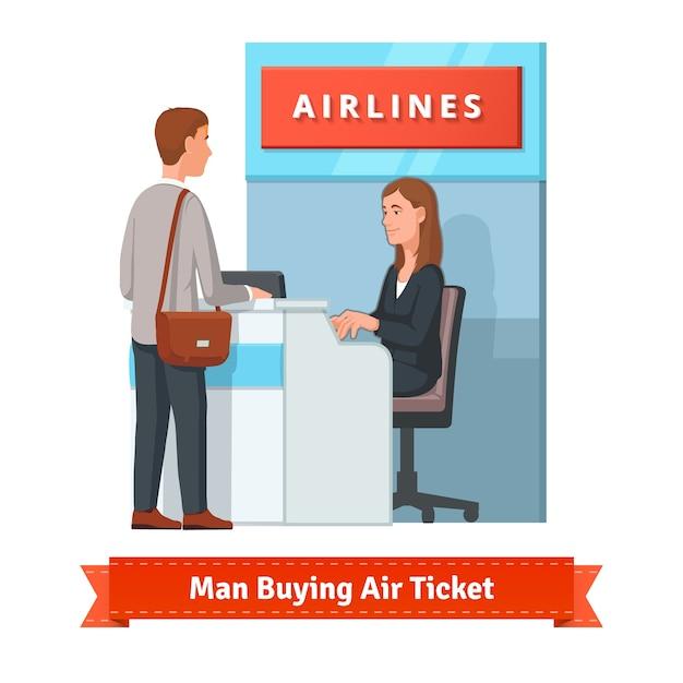 空港で出張のチケットを買う男 無料ベクター