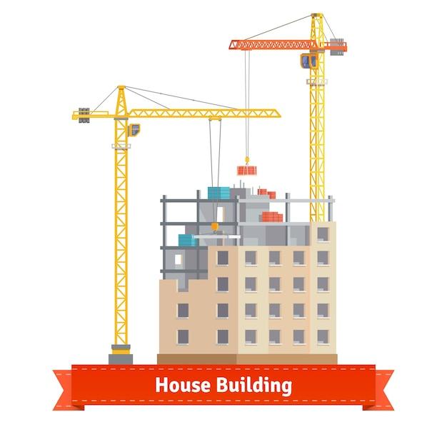タワークレーン付き集合住宅の建設 無料ベクター