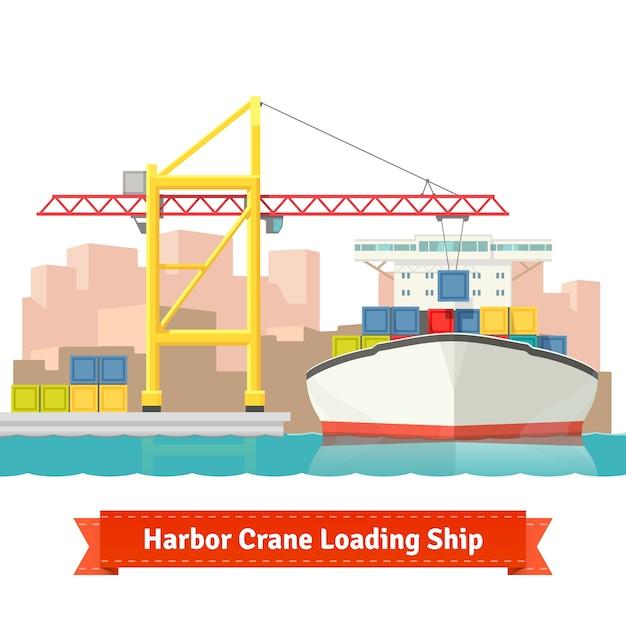 Контейнерный грузовой корабль, загруженный большим портовым краном Бесплатные векторы