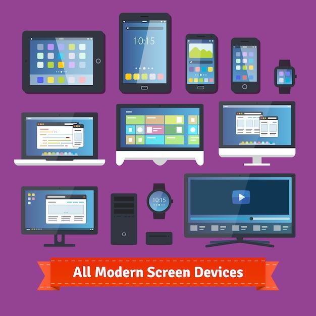 Все современные экранные устройства Бесплатные векторы