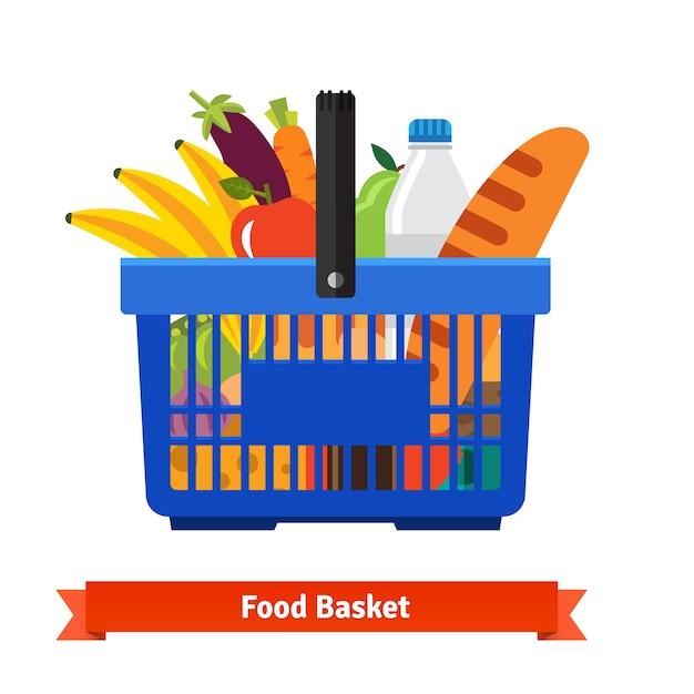 健康的な有機生鮮食品がいっぱいのショッピングバスケット 無料ベクター