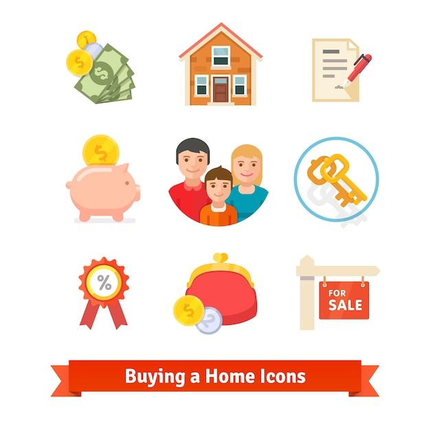 不動産、住宅ローン、ローン、購入アイコン 無料ベクター