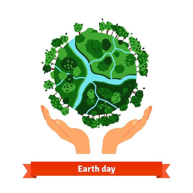 地球の日のコンセプト。人間の手が地球を保持する 無料ベクター