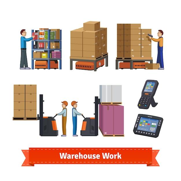 倉庫操作、労働者およびロボット 無料ベクター