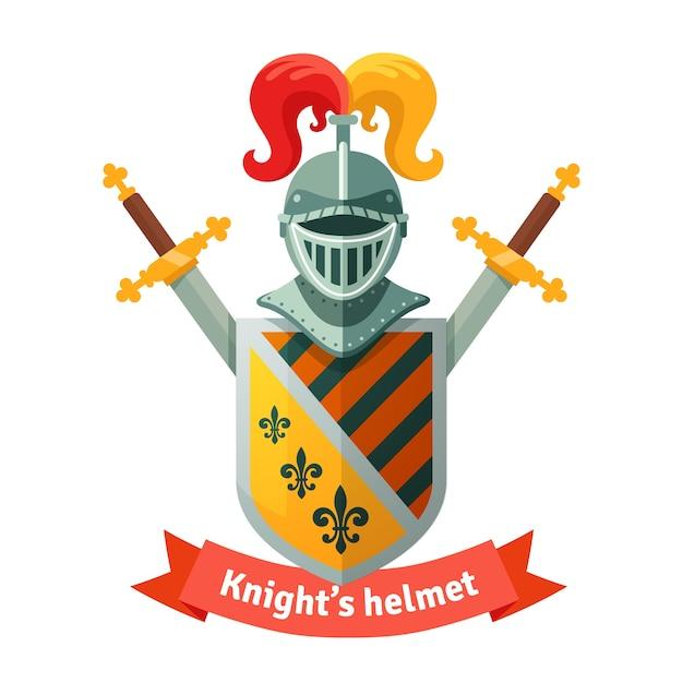 中世の紋章の騎士のヘルメット 無料ベクター