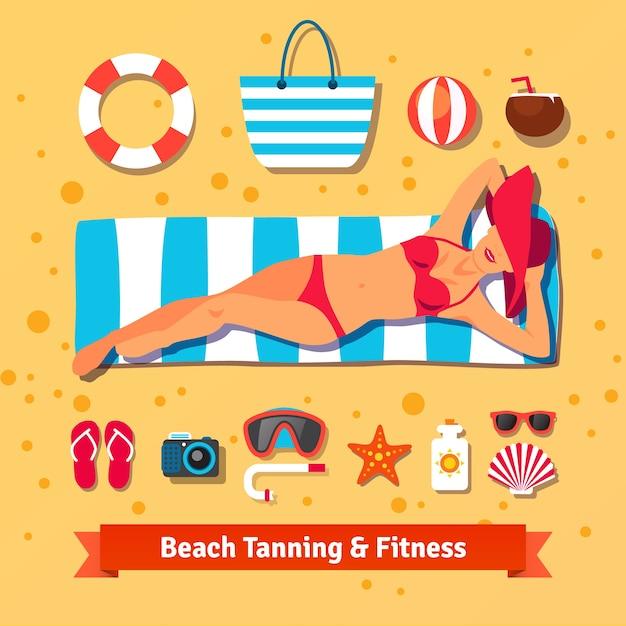 美しい女性がビーチで日焼けしています。海の休暇 無料ベクター