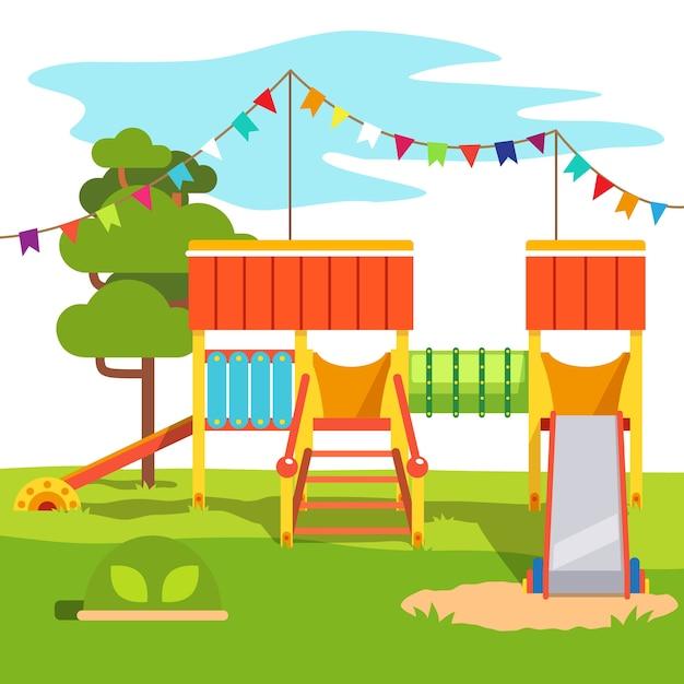 幼稚園の屋外公園の遊び場のスライド 無料ベクター
