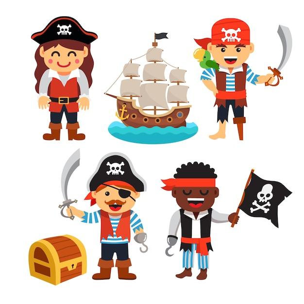 パイレーツキッズセット:宝箱、黒旗、船 無料ベクター