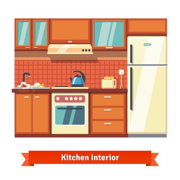 キッチンの壁のインテリア 無料ベクター