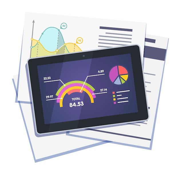 紙とタブレットの統計データの抽象度 無料ベクター