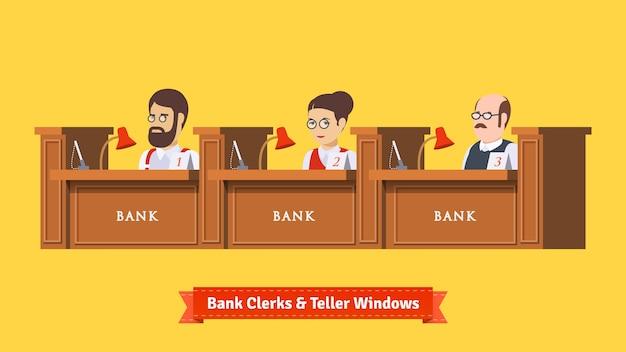 Три банковских клерка на работе Бесплатные векторы