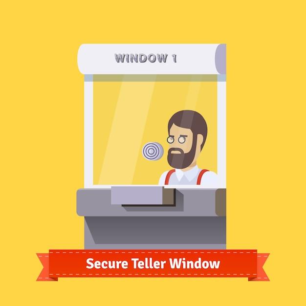 働く店員と現代の安全な窓口の窓 無料ベクター