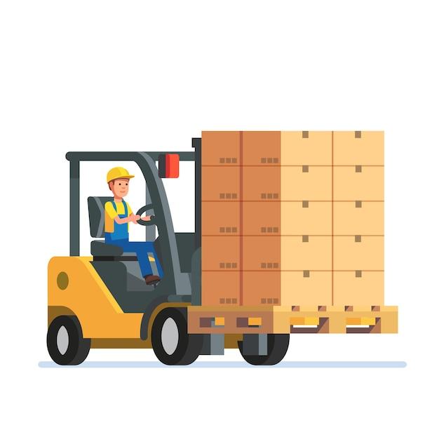 積み重なった箱パレットを運ぶフォークリフトトラック 無料ベクター