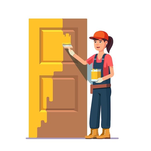 プロフェッショナル画家絵画のドア、黄色 無料ベクター