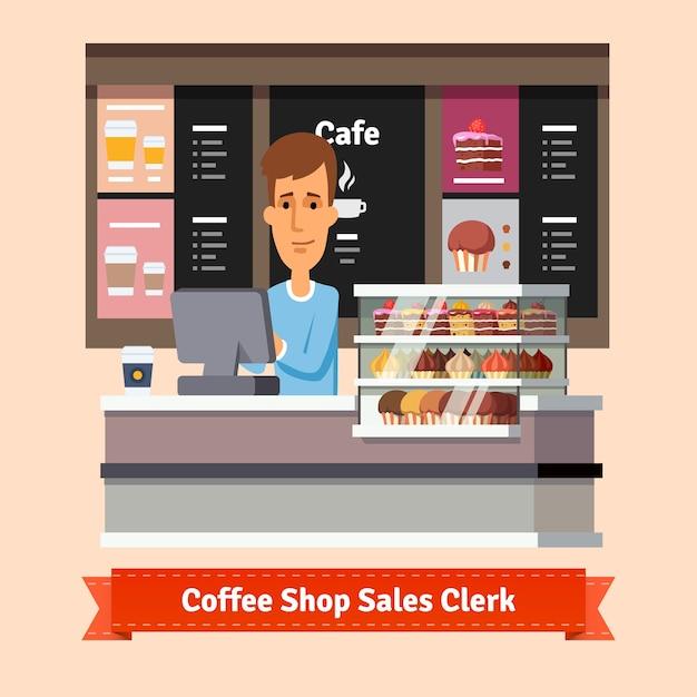 若い店のアシスタントは、コーヒーのカップを提供 無料ベクター