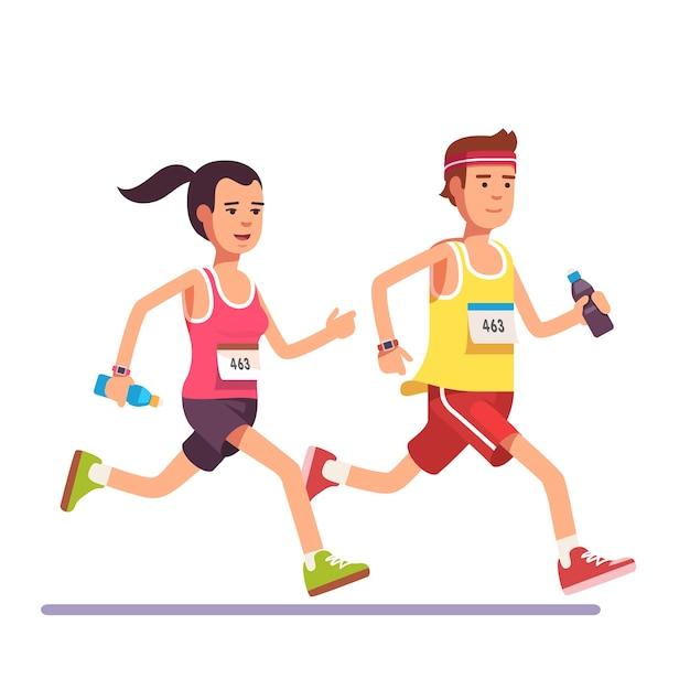 マラソンを一緒に走るカップルを合わせる 無料ベクター
