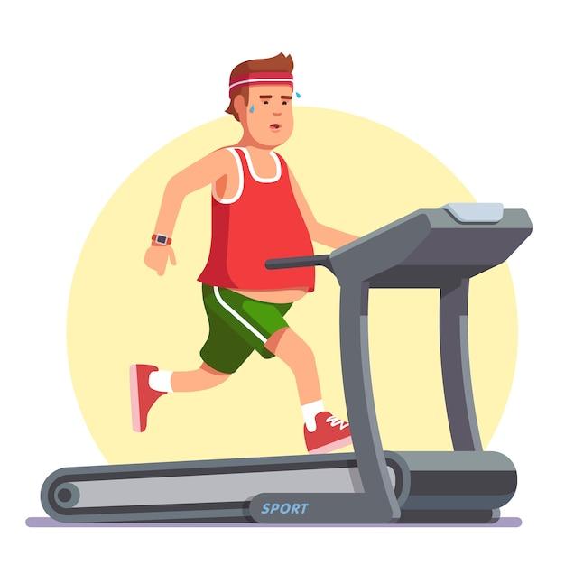 トレッドミルで走っている肥満の若い男 無料ベクター