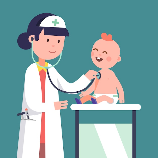 Женщина-врач-педиатр, изучающая мальчика Бесплатные векторы