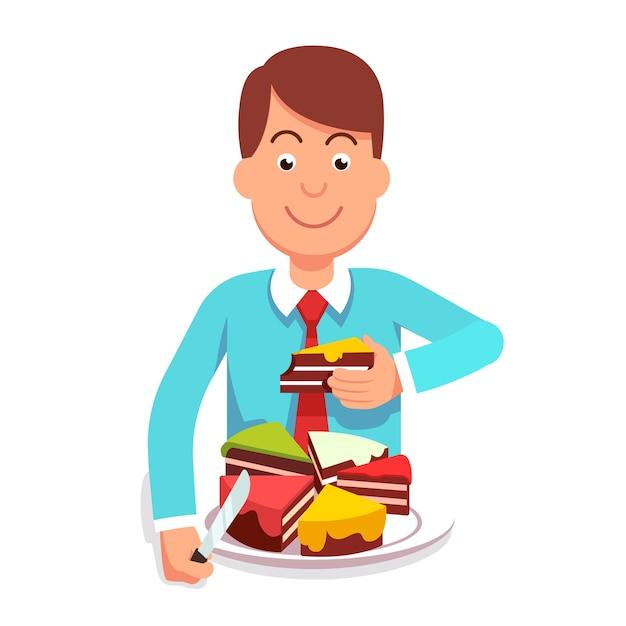 企業のビジネスマンは、市場シェアパイを食べる 無料ベクター