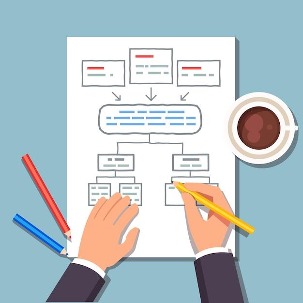 Бизнес-мужчина, составление плана блок-диаграммы Бесплатные векторы