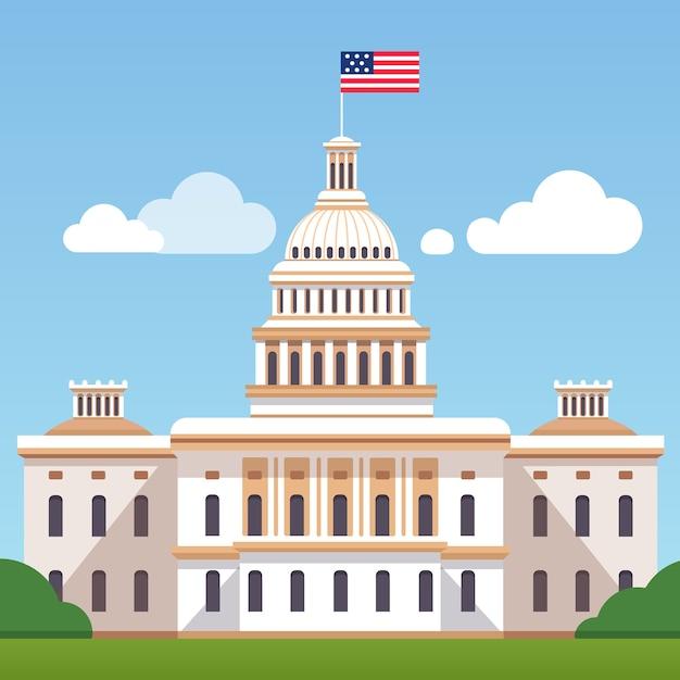 ホワイト・ハウス・ビルディング、アメリカの旗、青空に 無料ベクター