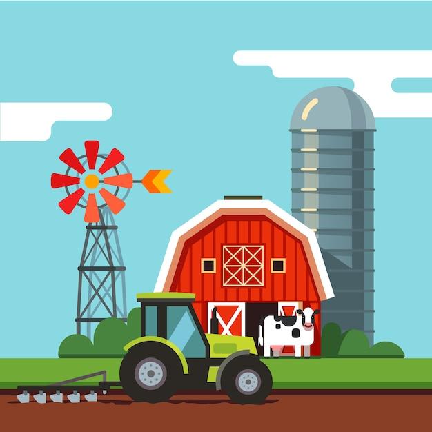 耕作場で働くトラクター 無料ベクター