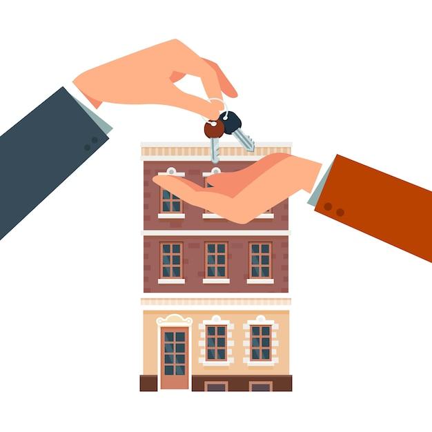 新しい家を購入または借りる 無料ベクター