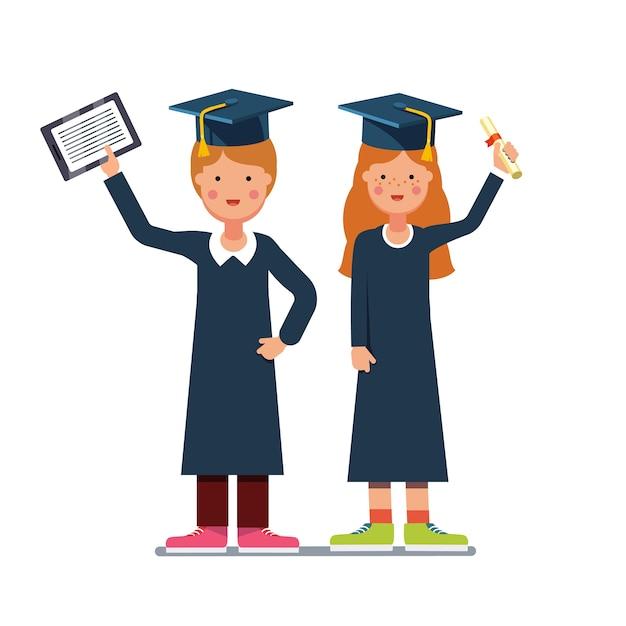 卒業生の少年少女と卒業証書 無料ベクター