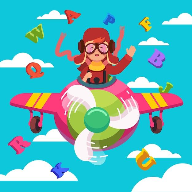 Счастливый улыбающийся ребенок летать самолет, как настоящий пилот Бесплатные векторы