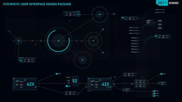 未来的なユーザーインターフェース要素 Premiumベクター